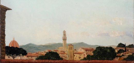 Landschap met toren. Gezicht op Florence, gezien vanaf Palazzo Piti, olieverfschilderij van Ad van der Kop.