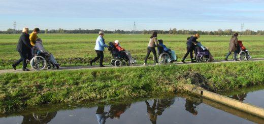 Met vijf rolstoelen door de weilanden.