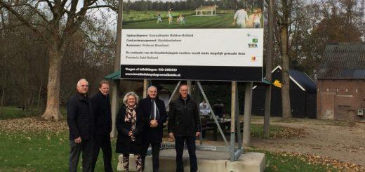 Bestuursleden Groenalliantie Midden-Holland: Kees Oskam, Jan Vente, Kirsten Jaarsma, Leon de Wit en Harry Verboon, directeur van Verboon Maasland.
