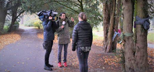 Opname Jeugdjournaal in het Zuiderpark in Den Haag