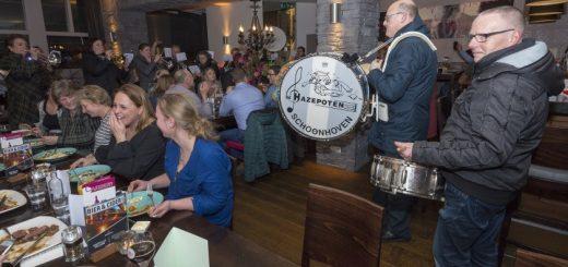 Livemuziek tijdens de restaurantactie van 2018. (Foto: wijntjesfotografie.nl)